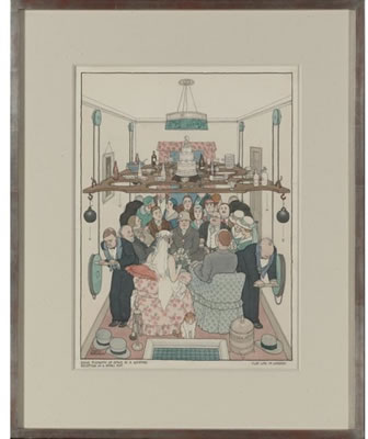William Heath Robinson : 'Sane Economy of Space at a Wedding Reception in a Small Flat'