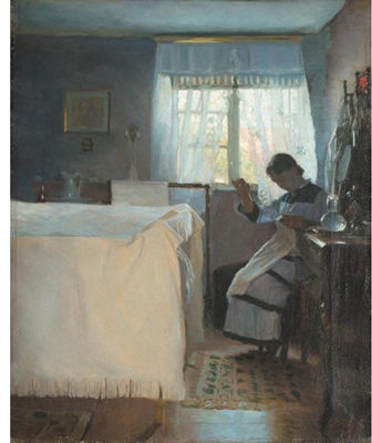 Peter Vilhelm Ilsted-KVINDE DER SYR (WOMAN SEWING BY A WINDOW)