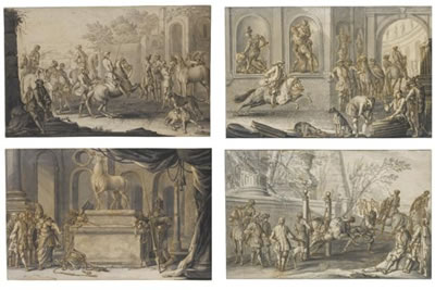 Johann Elias Ridinger-SIXTEEN SCENES OF THE BREAKING AND SCHOOLING OF HORSES