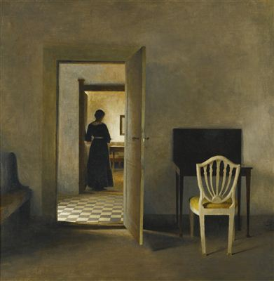 Peter Vilhelm Ilsted-INTERIOR WITH WHITE CHAIR