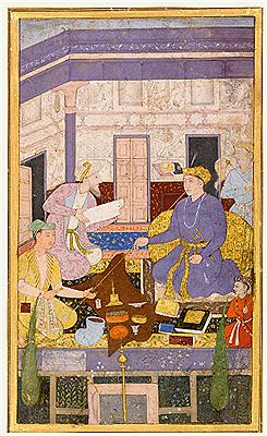 Mushfiq-A Mughal prince smoking a long-stemmed pipe, seated in an interior with attendants and a child