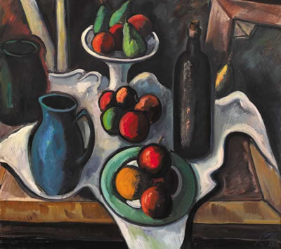 Peter Collis-STILL LIFE WITH WINE AND FRUIT