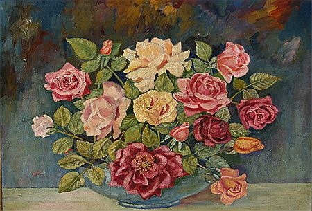 "Emily Jane Jackson Lakey-""Still life Study of Mixed Flowers in a Bowl"""