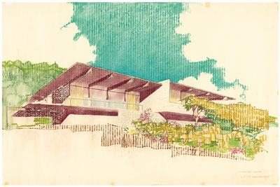 Richard Josef Neutra-Architectural Rendering of the Linn Residence