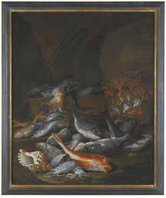 Francesco della Questa-STILL LIFE OF ASSORTED FISH, SHELLFISH AND CORAL WITH A NET AND BASKET